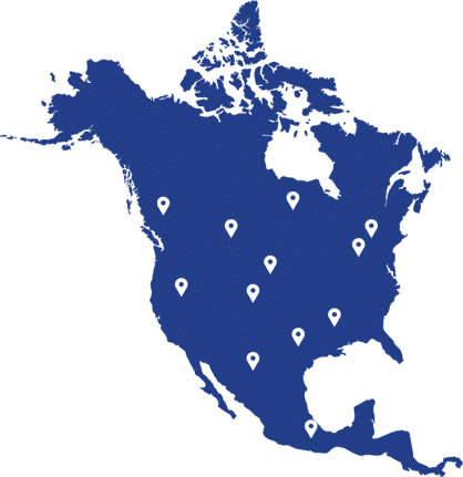 map of north america with map pins showing joe johnson equipment locations
