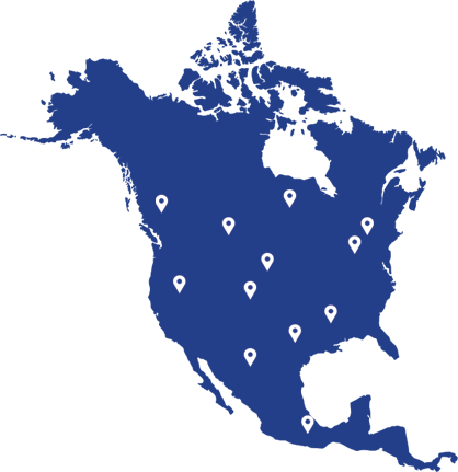 map of north america with pins showing joe johnson equipment locations