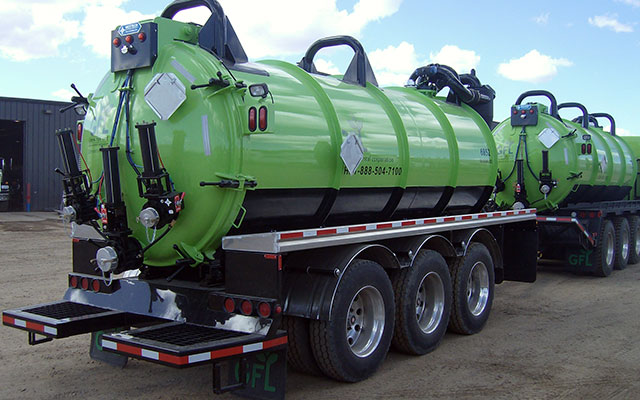 tank truck with tank pup trailer